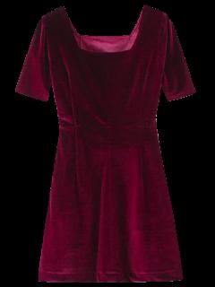 Robe Ligne A En Velours Vintage - Rouge Vineux  S