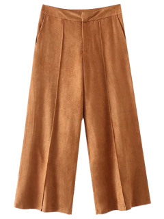 Faux Suede Wide Leg Pants - Light Coffee S