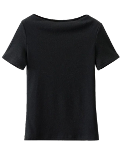 Slash Neck Short Sleeve Cotton T-Shirt - Black S