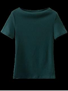 T-Shirt En Coton à Manches Courtes à Encolure Bateau - Vert M