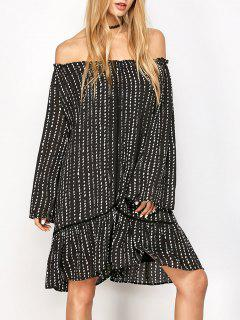 Printed Off Shoulder Tunic Dress - Black L