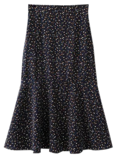 Flounced Tiny Floral Mermaid Skirt - Black