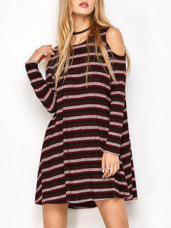 Striped Cold Shoulder Shift Dress - Burgundy S