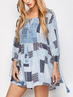 Tassel String Patchwork Print Tunic Top - Multicolor S