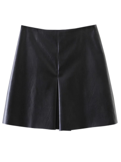 PU Leather Stretchy A-Line Skirt - Black S