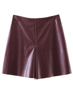 PU Leather Stretchy A-Line Skirt - Wine Red S
