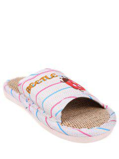 Insect Striped Jute Panel House Slippers - Blue Size(40-41)