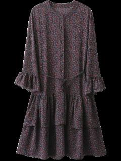 Flare Sleeve Tiny Floral A-Line Dress - Black