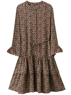 Flare Sleeve Minuscule Floral Une Ligne-Robe - Brun