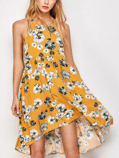 Robe Florale Mini Plissée Sans Manche - Or S
