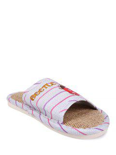 Insect Striped Jute Panel House Slippers - Purple Size(40-41)