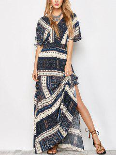 Printed Tie Back Slit Maxi Blouson Dress - Purplish Blue S