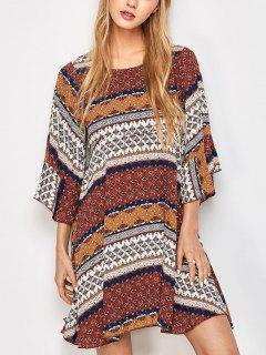 Criss Cross Tribal Print Kimono Dress - Multicouleur S
