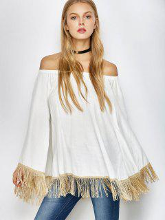 Off The Shoulder Fringe Chemisier Oversize - Blanc