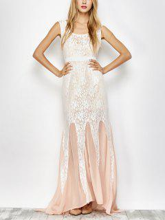 Chiffon Lace Maxi Mermaid Prom Dress - Pink And White Xl