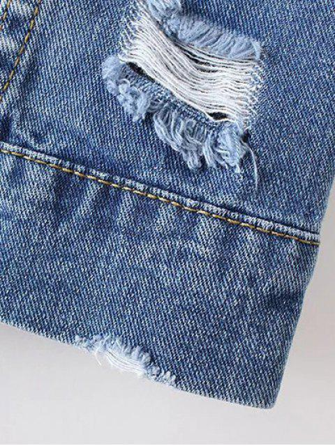 womens Bleach Wash Distressed Denim Coat - DENIM BLUE L Mobile