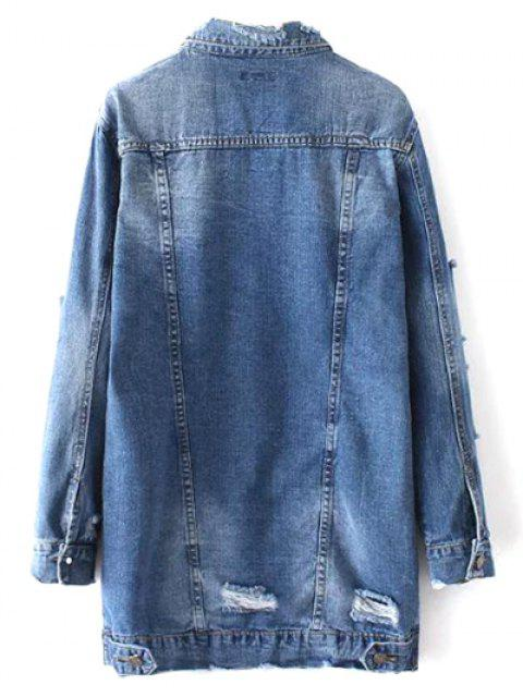 women's Bleach Wash Distressed Denim Coat - DENIM BLUE S Mobile