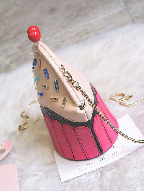 womens Novelty Cupcake Shaped Crossbody Bag - PINK  Mobile