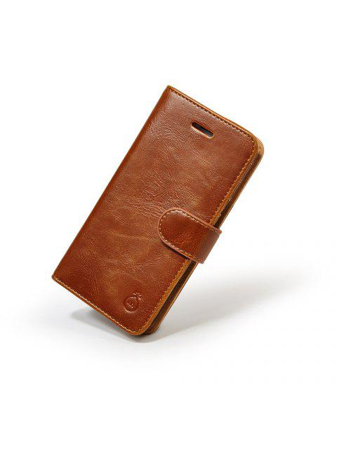 outfit Faux Leather Flip Wallet Case with Card Slot For iPhone - BROWN FOR IPHONE 7 Mobile