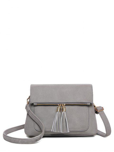 buy Suede Tassel Crossbody Bag - GRAY  Mobile