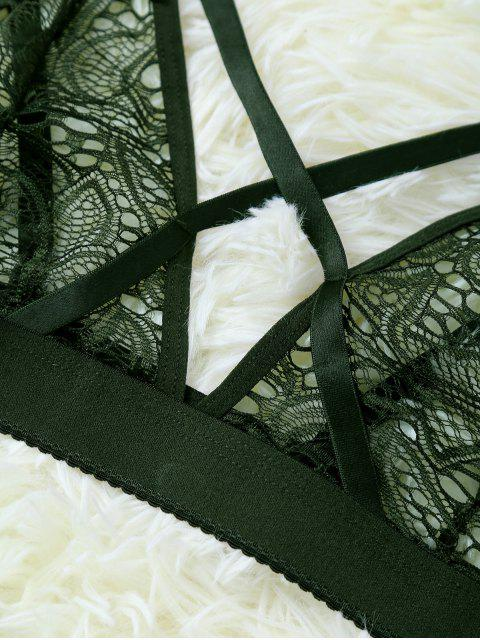 online Strappy Hollow Out Lace Bra - OLIVE GREEN L Mobile