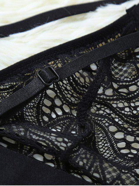 outfits Strappy Hollow Out Lace Bra - BLACK M Mobile