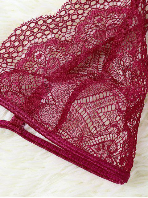 shops Cut Out Sheer Lace Bra - RED L Mobile