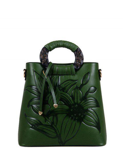 chic Flower Embossed Faux Leather Handbag - GREEN  Mobile