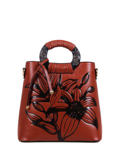 fancy Flower Embossed Faux Leather Handbag - BROWN  Mobile