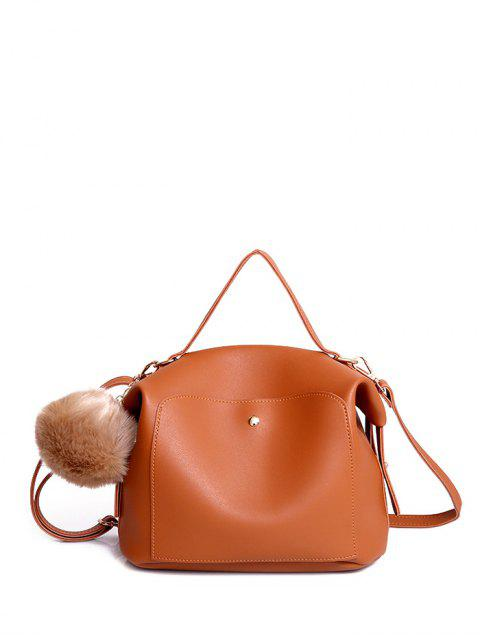 unique Slouchy Handbag with Pom Pom Detail - BROWN  Mobile