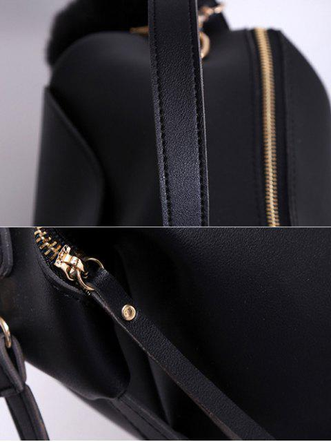 sale Slouchy Handbag with Pom Pom Detail - BLACK  Mobile