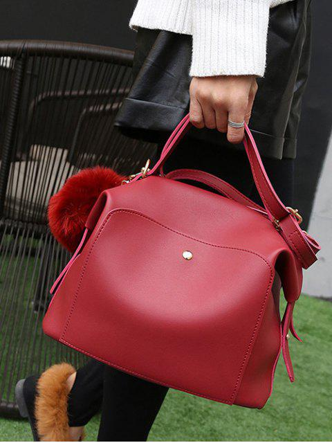 affordable Slouchy Handbag with Pom Pom Detail - RED  Mobile