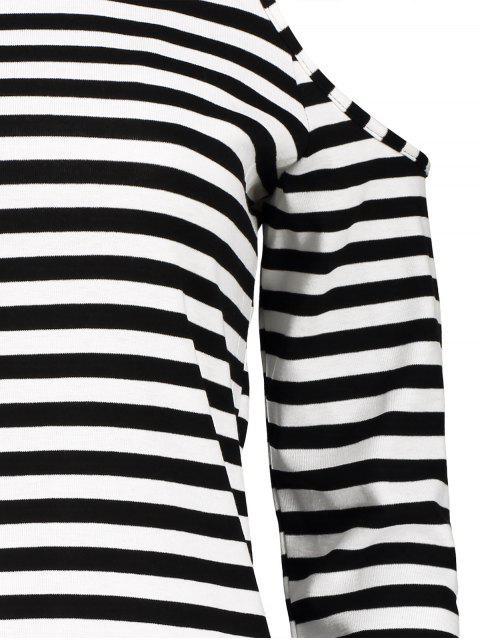 T-shirt rayé Cold Shoulder - Blanc et Noir M Mobile