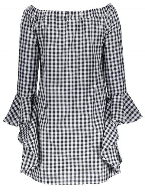 womens Bell Sleeve Off The Shoulder Checked Dress - PLAID XL Mobile
