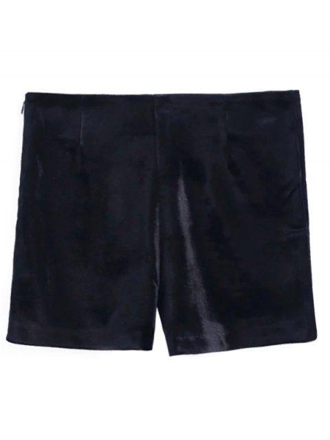 Shorts en velours avec broderie florale - Noir M Mobile