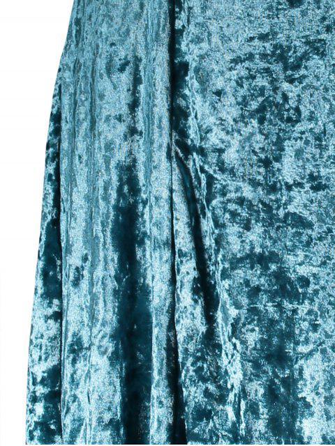 buy Shimmer Velvet Cami Dress - PEACOCK BLUE S Mobile