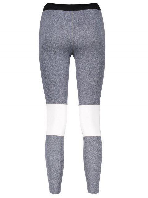 outfit Color Block Skinny Yoga Leggings - GRAY L Mobile