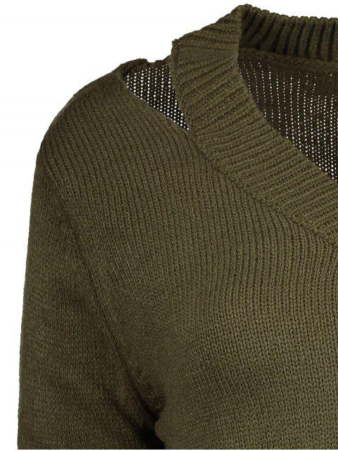womens Pullover Zipper V Neck Sweater - ARMY GREEN XL Mobile