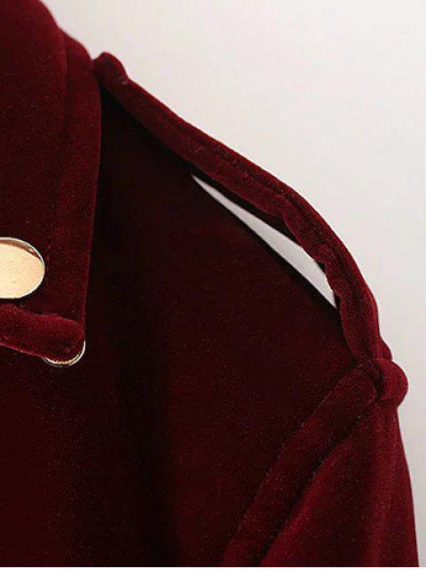 hot Lapel Velvet Biker Jacket - CADETBLUE S Mobile