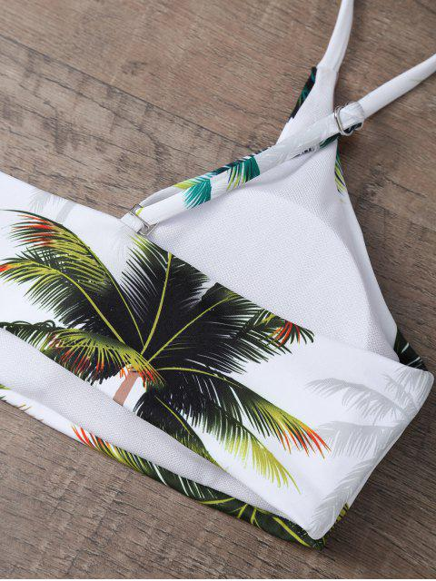 affordable Palm Tree Print High Waisted Bikini Set - WHITE L Mobile