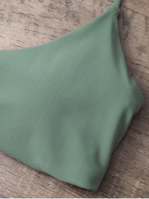 womens Tasselled Halter Bikini Set - ARMY GREEN L Mobile