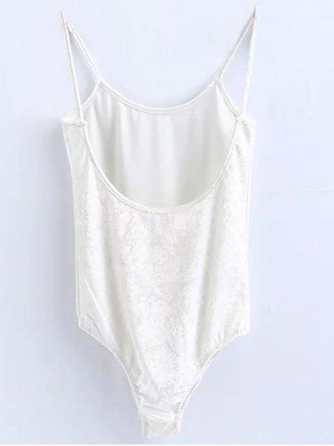 lady Skinny Velvet Bodysuit - WHITE M Mobile