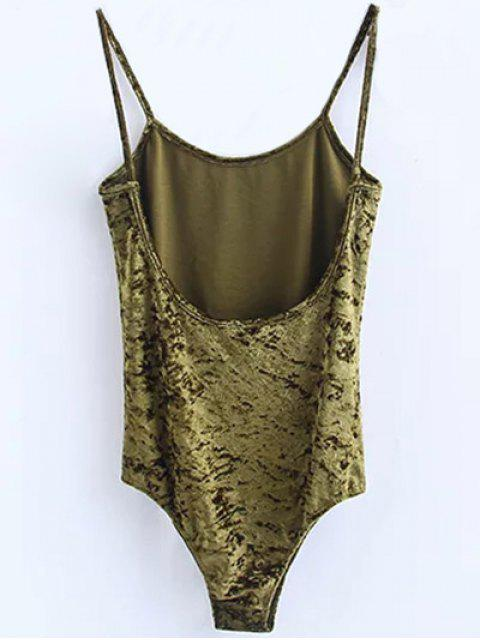 shop Skinny Velvet Bodysuit - GREEN S Mobile