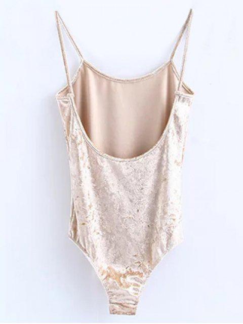 fashion Skinny Velvet Bodysuit - CHAMPAGNE S Mobile