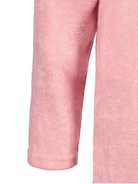 sale Side Zipper Sweater Dress - PINK S Mobile