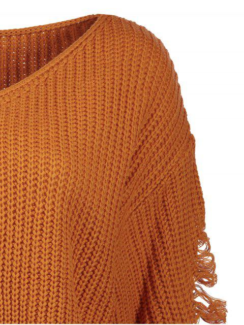 latest Loose Pullover Distressed  Sweater - EARTHY M Mobile