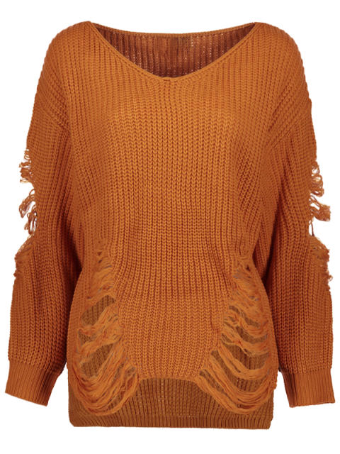 outfits Loose Pullover Distressed  Sweater - EARTHY 2XL Mobile