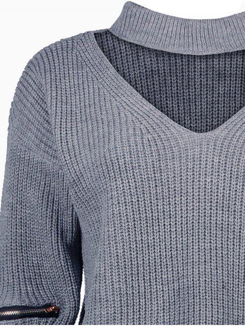 new Ribbed Zipper Choker Swater - GRAY ONE SIZE Mobile