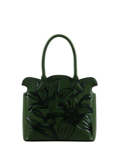 women Flower Embossed Scalloped Handbag - GREEN  Mobile
