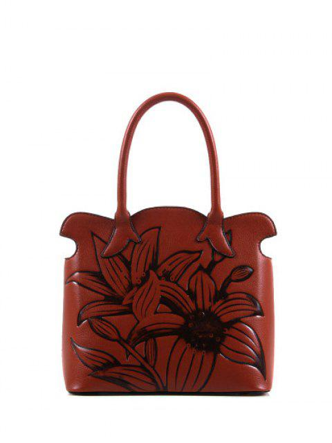 women's Flower Embossed Scalloped Handbag - BROWN  Mobile
